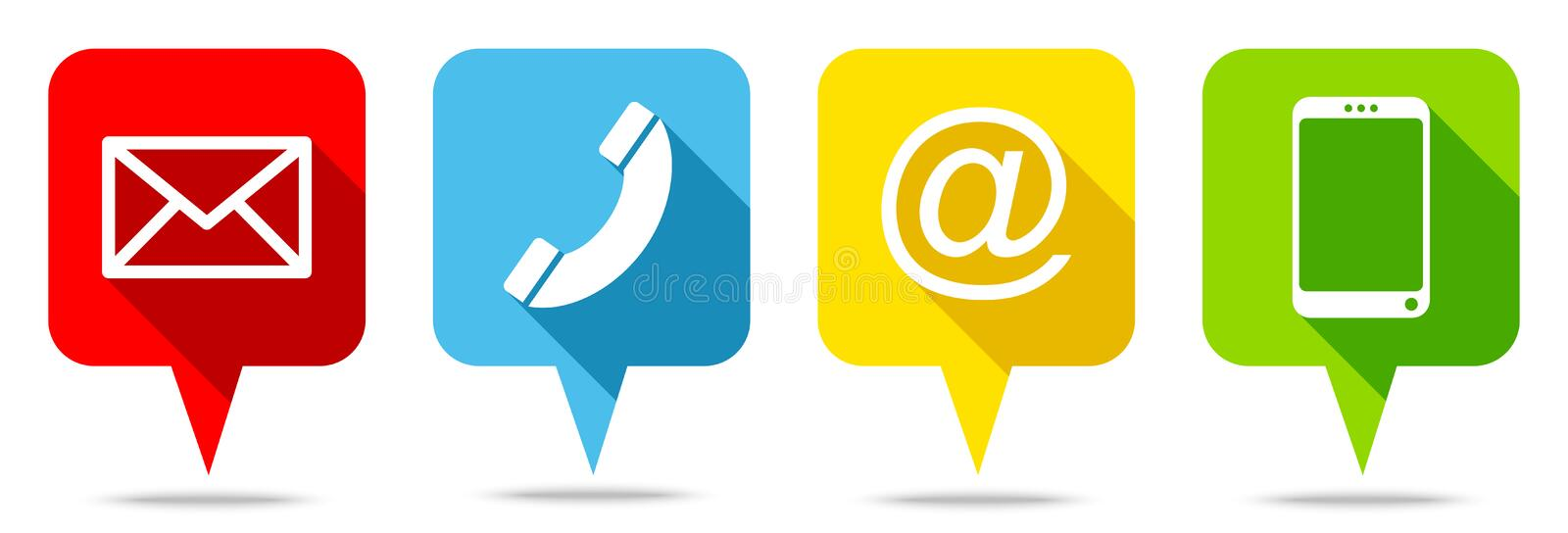 Set Of Four Colorful Speech Bubbles Contact stock illustration