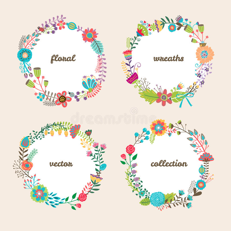 Set of four colorful vector floral wreaths stock illustration