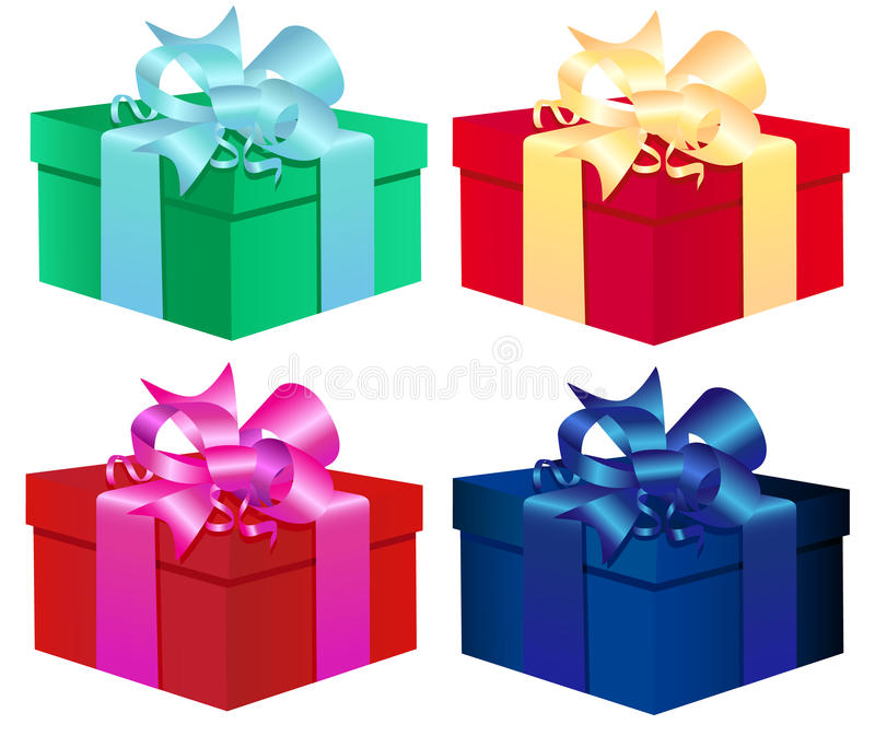 Set of four colorful vector gift boxes Isolated On stock illustration