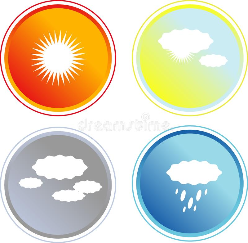 Set of four colorful weather icoms stock photo
