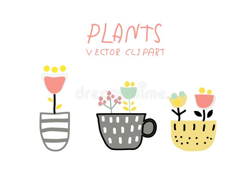 Set of four colorless potted plants in a hand-drawn style. Black and white vector illustration. - Vector vector illustration