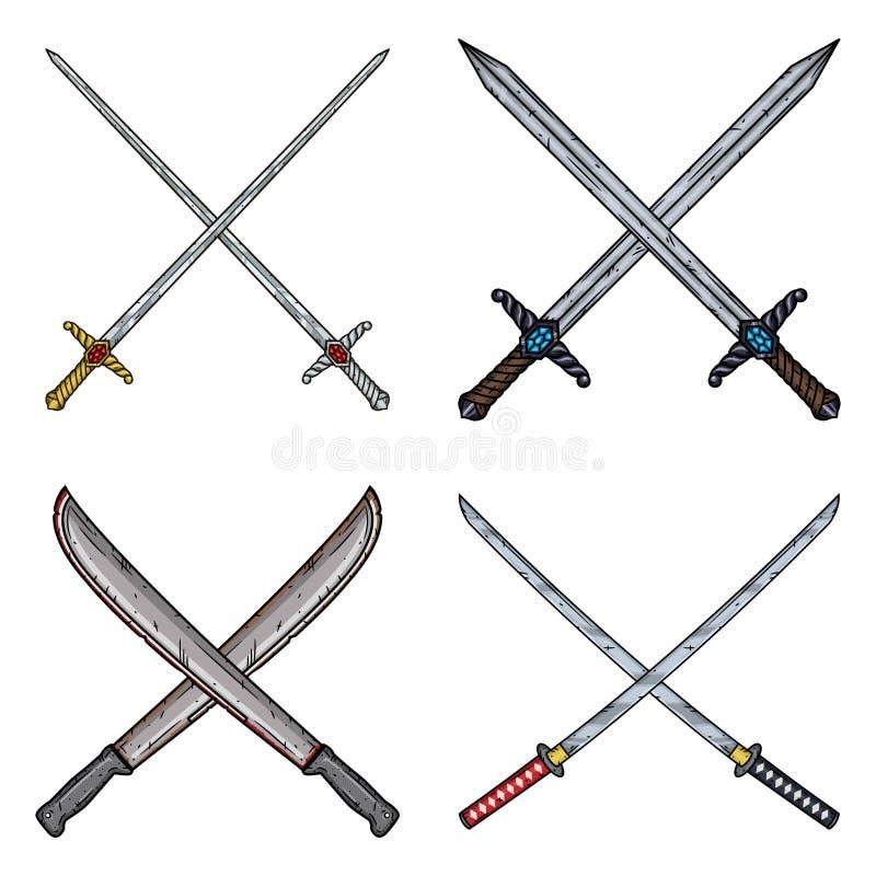 Set of four crossed blades-rapiers, swords, machetes and Katanas. stock illustration