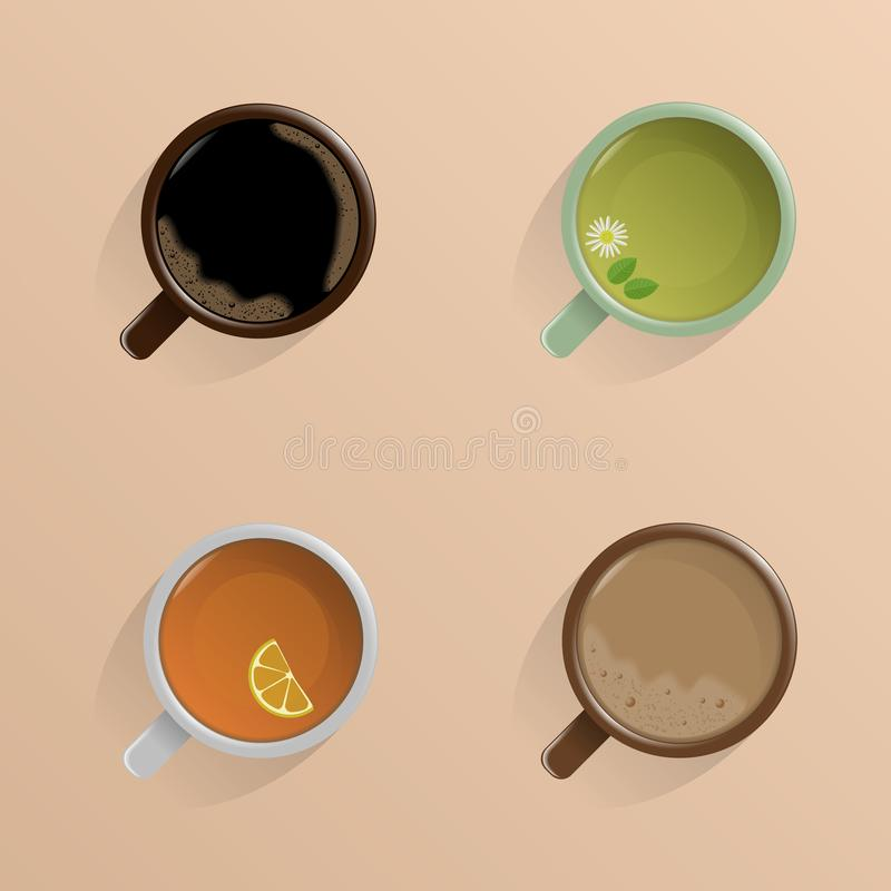 Set of four cups. The view from the top. Black coffee, black tea, green tea, coffee with milk. With shadow on beige background. royalty free illustration