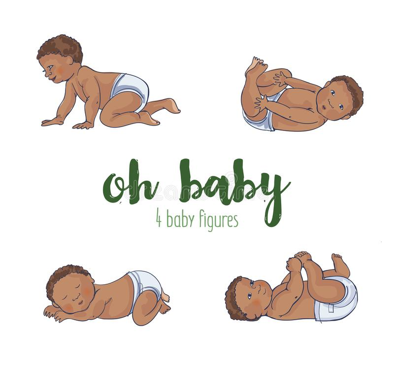 Set of four cute african babies. Set of four cute african baby illustrations. Four different hand drawn adorable babies vector illustration