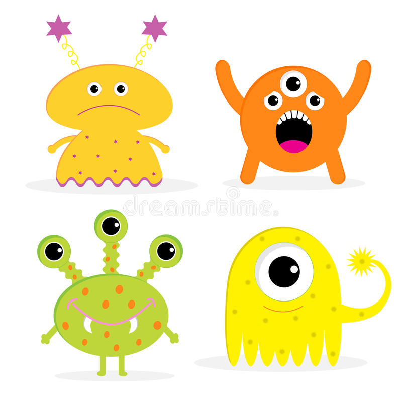 set of four cute cartoon monsters isolated happy stock vector rh dreamstime com pictures of animated monsters pictures of cartoon monsters for kids