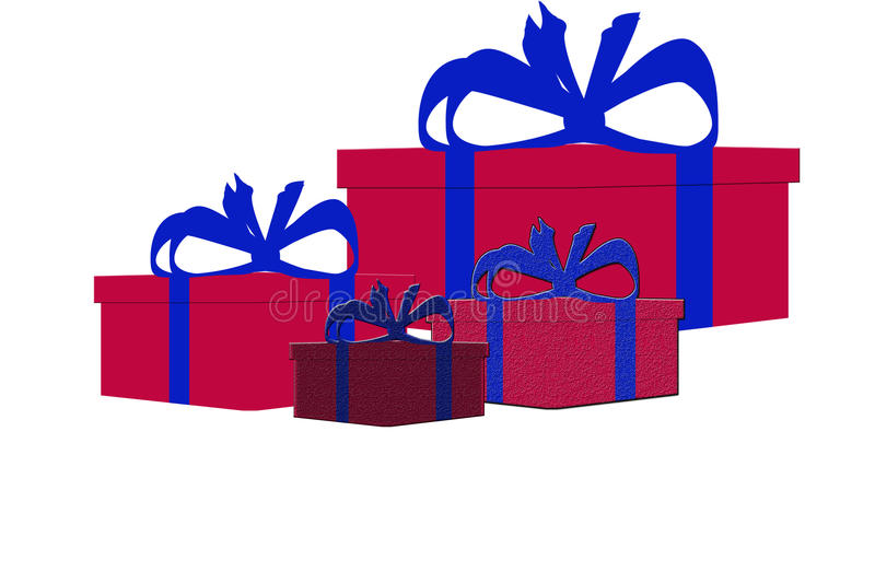 Set of four different colorful isolated present gift boxes vector illustration