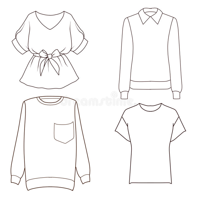 Set Of Four Different Tops Flat Fashion Sketch Template Stock ...