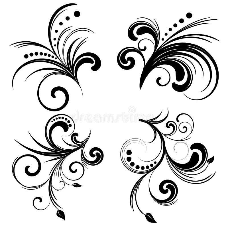 Set_of_four_floral_elements stock illustratie