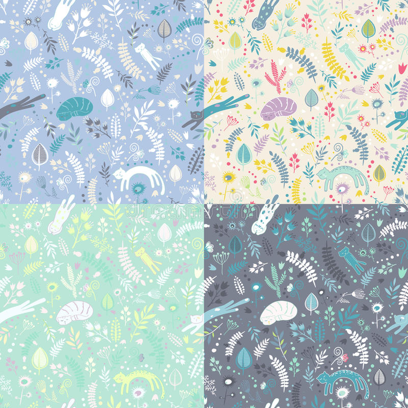 Set of four floral elements seamless patterns with sleeping cats and flowers. vector illustration
