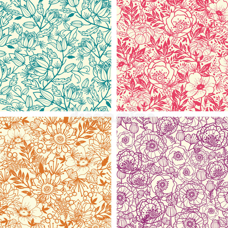 Set of four floral line art seamless pattern royalty free illustration
