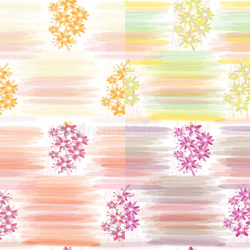 Set of four floral seamless patterns with horizontal watercolor stripes. For web design stock illustration
