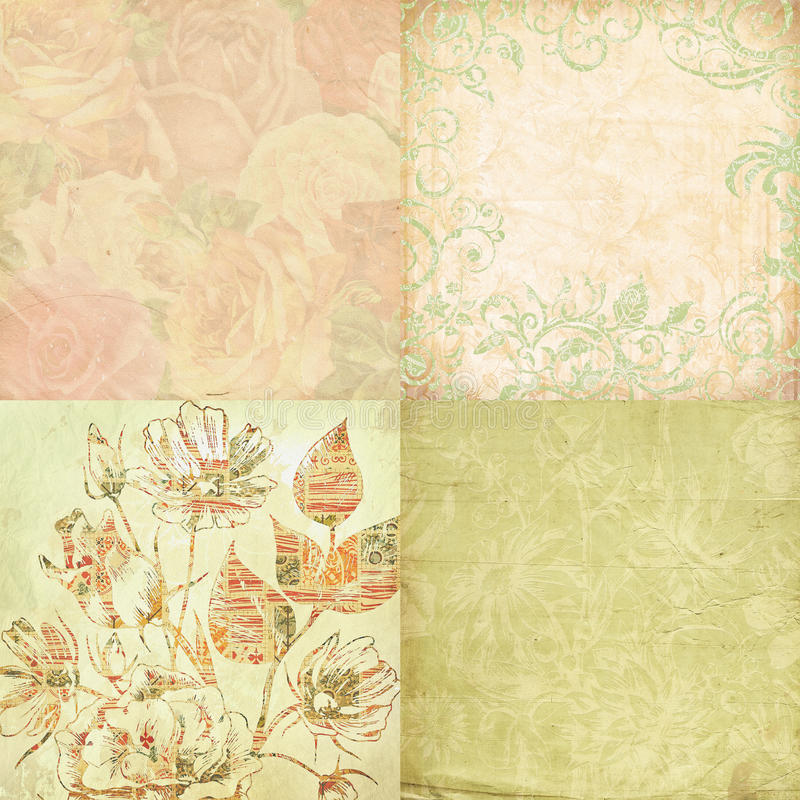 Set of four floral shabby backgrounds vector illustration