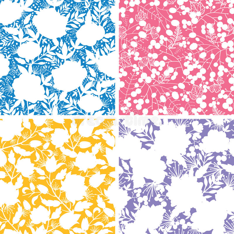 Set of four floral silhouettes seamless patterns stock illustration