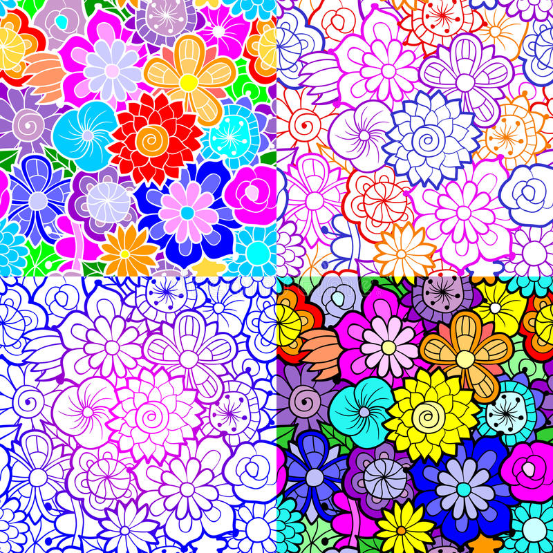 Set of four floral vector seamless patterns vector illustration