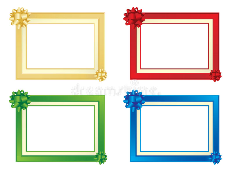 Set Of Four Frames With Bows Stock Vector - Illustration of ...