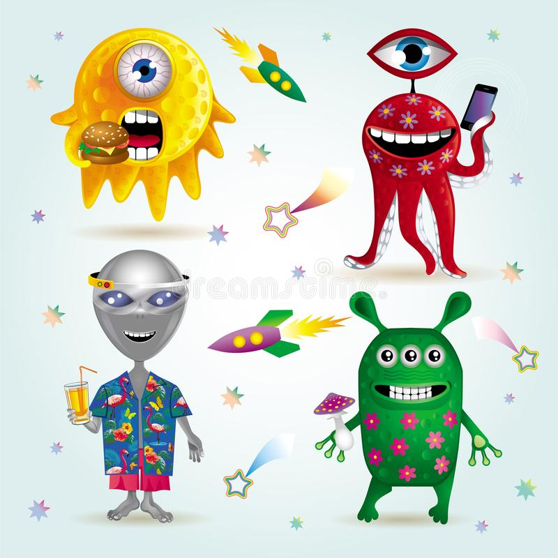 Set of four funny cartoon aliens. Vector set of four funny cartoon aliens, one of whom rings a cell phone, the second eats a Burger, the third wears virtual vector illustration