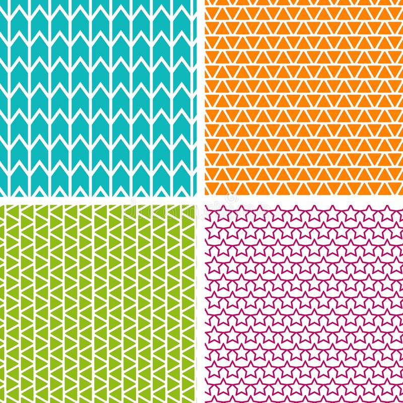 Set of four geometric patterns. Collection of different abstract patterns. royalty free illustration