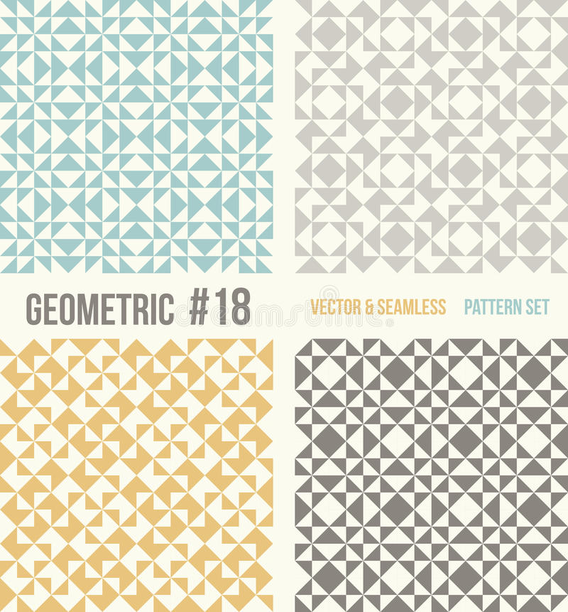 Set of four geometric patterns, teal, yellow and grey colors. stock illustration
