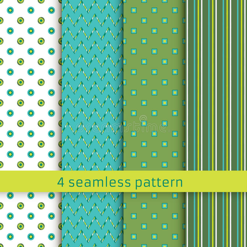 Set of four geometric seamless patterns. stock images