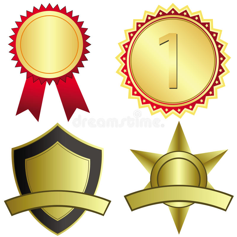 Set of four gold award medals royalty free illustration