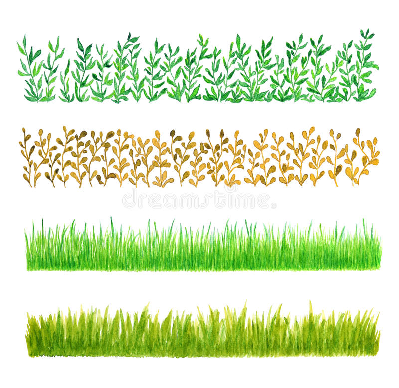 Set of Four Grass Watercolor Borders vector illustration