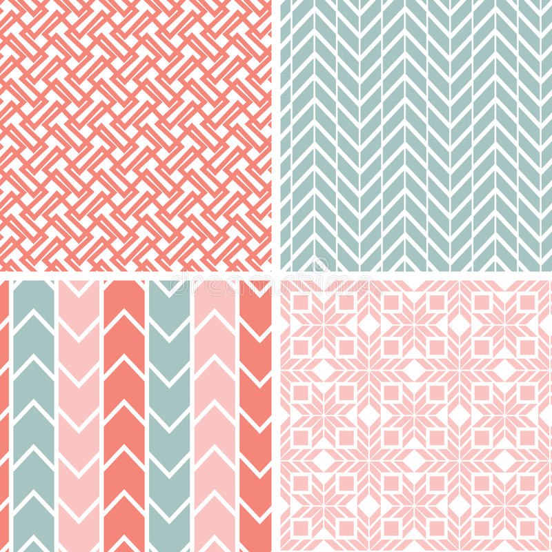 Set of four gray pink geometric patterns and stock illustration