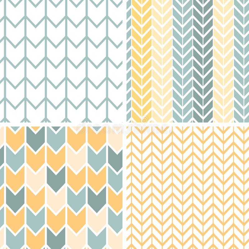Set of four gray yellow chevron patterns and royalty free illustration