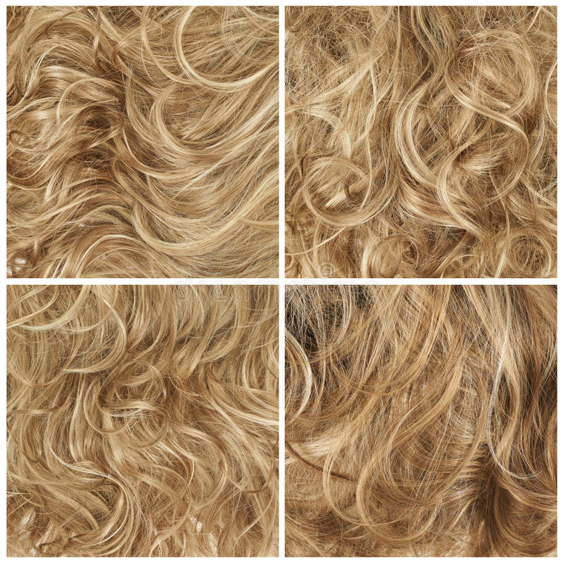 Set of four hair backgrounds. Curly hair fragment as a texture background composition, set of four images stock images