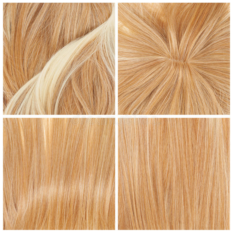 Set of four hair backgrounds. Straight hair fragment as a texture background composition, set of four images royalty free stock image