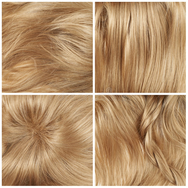 Set of four hair backgrounds. Straight hair fragment as a texture background composition, set of four images stock photo