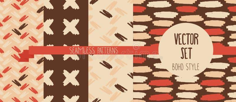 Set of four hand drawn seamless patterns royalty free illustration