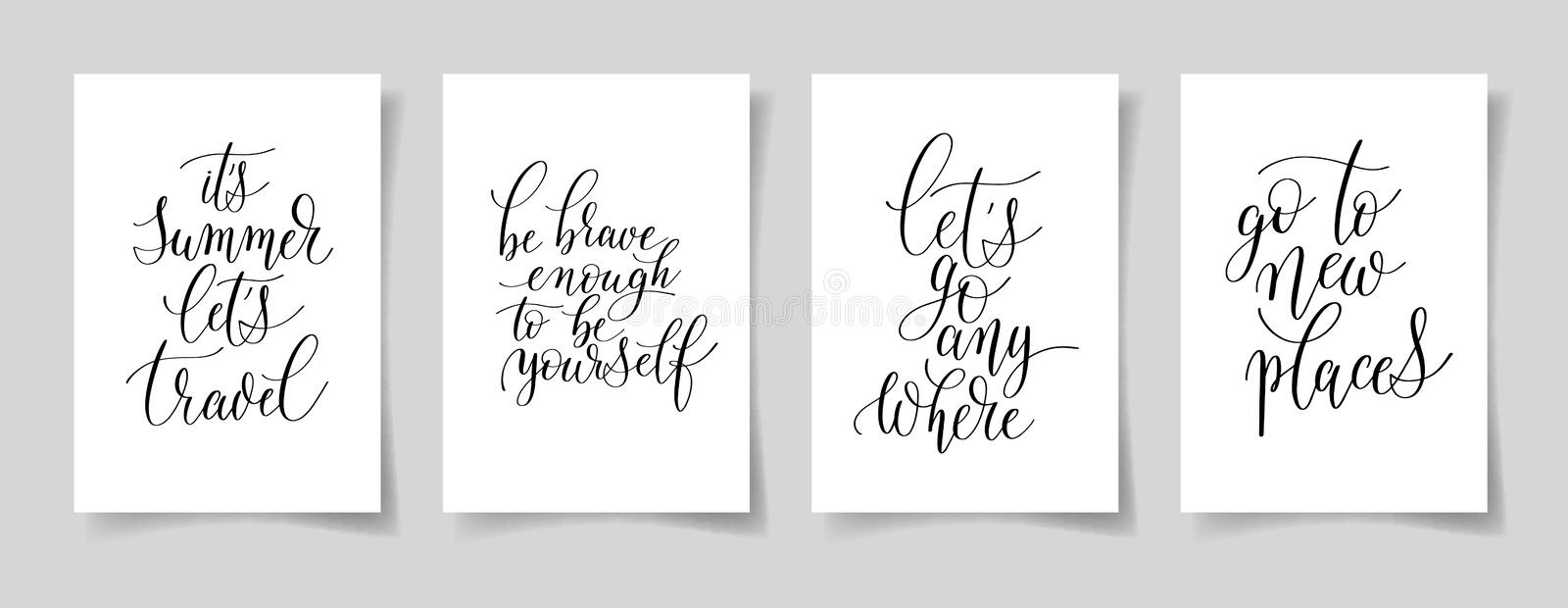 Set of four hand written lettering positive quotes on paper A4. About life and travel, modern calligraphy vector illustration collection royalty free illustration