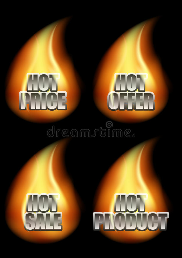 Download Set Of Four Hot Eshop Messages In Flame Stock Vector - Image: 31336168