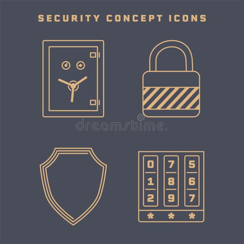 Set of four icons on security theme royalty free stock photos