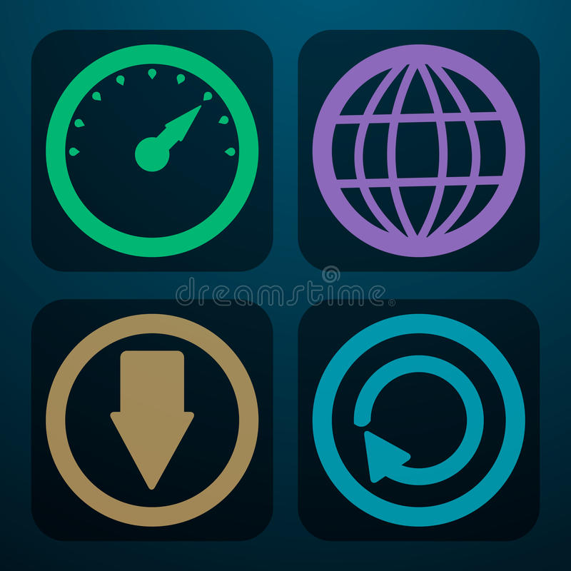Download A Set Of Four Icons To Download The Data In Differ Stock Vector - Illustration: 35310926