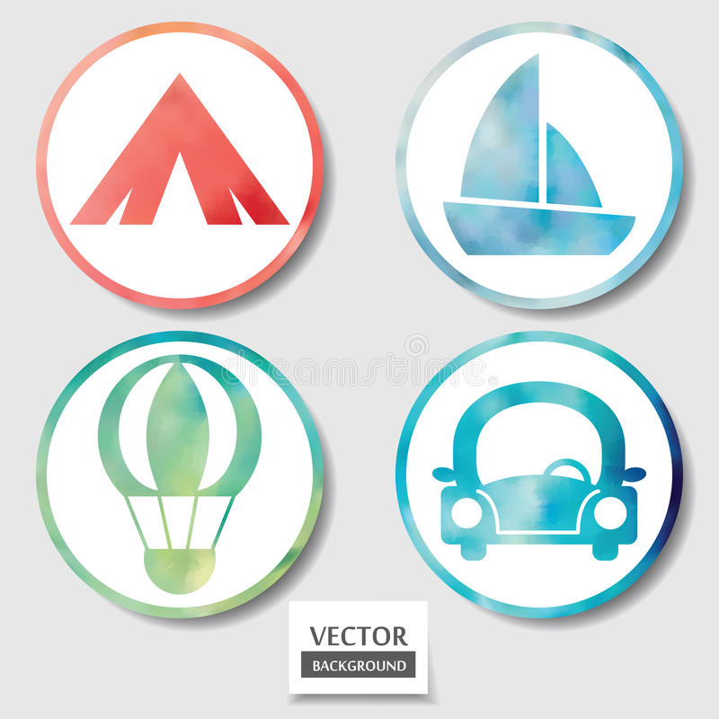 Set of four icons. Web and mobile apps circle watercolor button. royalty free illustration