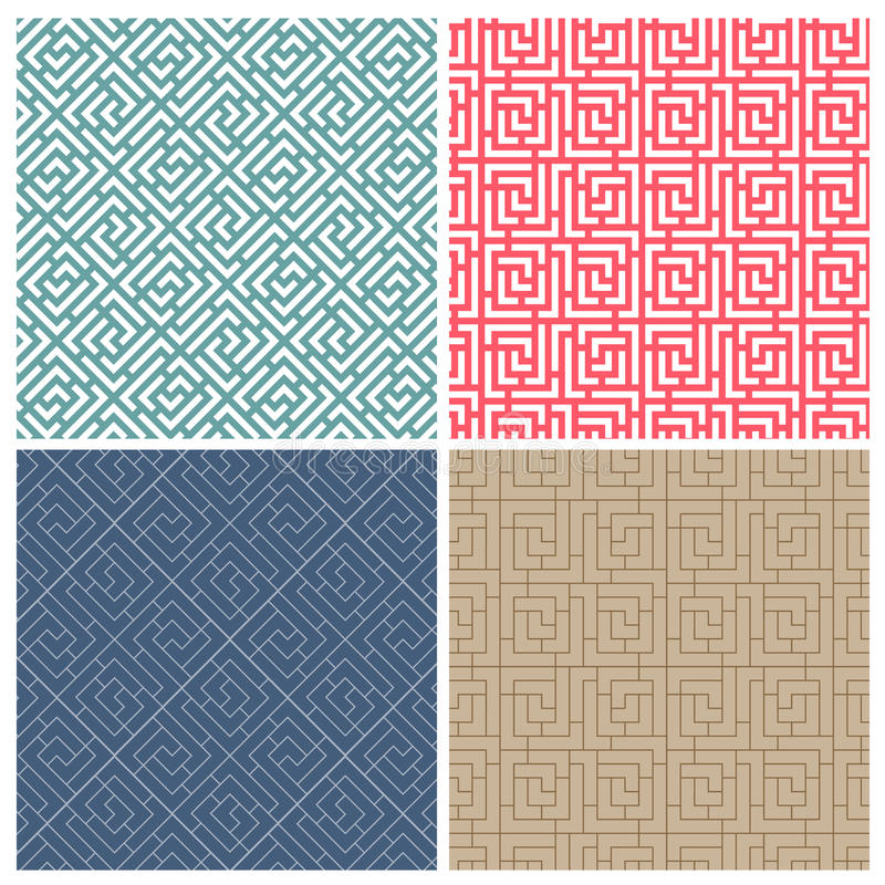 Set Of Four Illusion Maze Puzzle Tile Patterns Stock