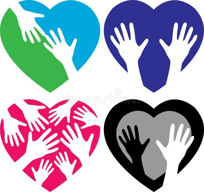 Set of helping hands illustration vector illustration