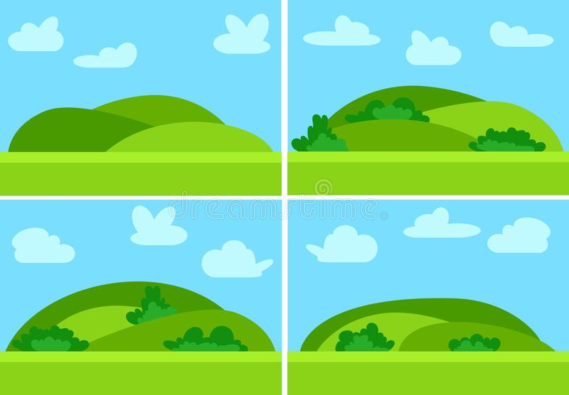 Set of four images with natural cartoon landscapes. In the flat style with green hills, blue sky and clouds at sunny day. Vector illustration stock illustration