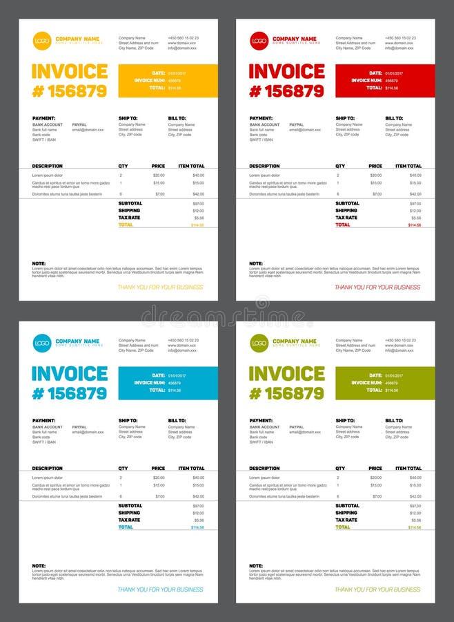 Set of four invoice templates stock illustration