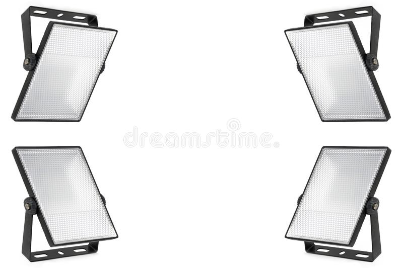 Set of four isolated led spotlights on white background. Translucent diffuser with small cells. A high resolution. Set of four isolated led spotlights on white royalty free stock photography