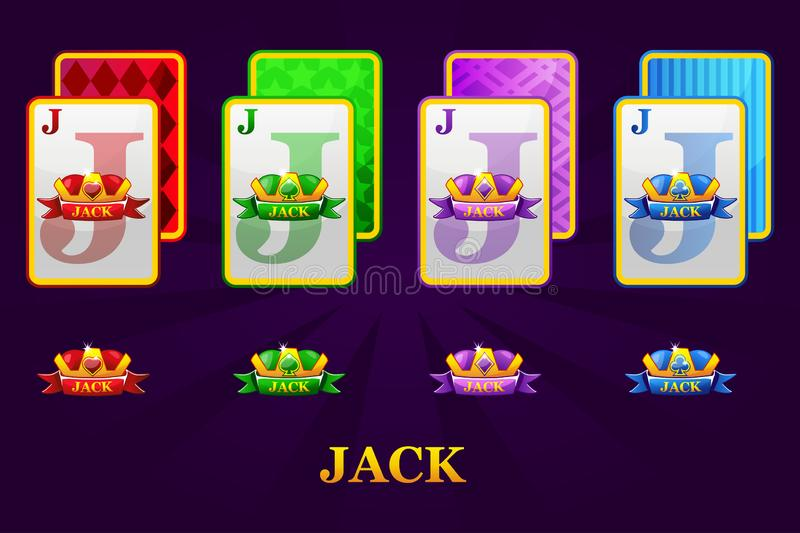 Set of four Jacks playing cards suits for poker and casino. Set of hearts, spades, clubs and diamonds Jack. royalty free illustration