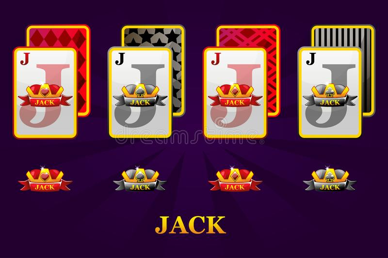Set of four Jacks playing cards suits for poker and casino. Set of hearts, spades, clubs and diamonds Jack. vector illustration