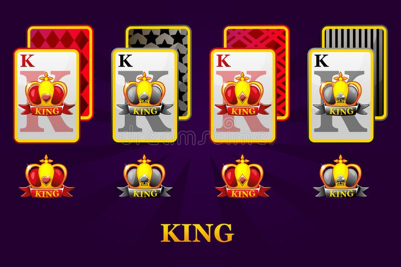Set of four Kings playing cards suits for poker and casino. Set of hearts, spades, clubs and diamonds King. royalty free illustration