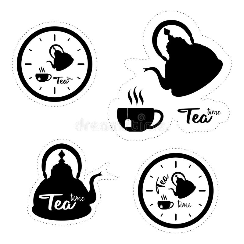 Set of four labels with silhouettes of clocks, tea pots and cups. Isolated on white background royalty free illustration