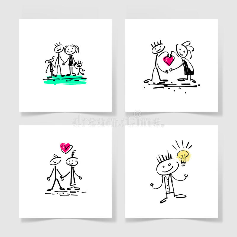Set of four marker hand drawing sketch doodle human stick figure vector illustration