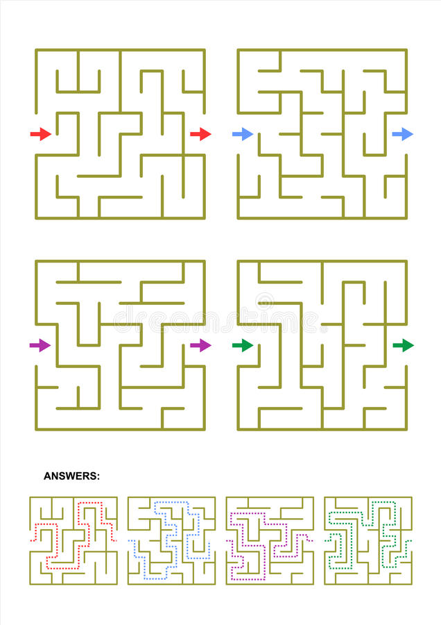 Set Of Four Maze Game Templates With Answers Stock Vector ...