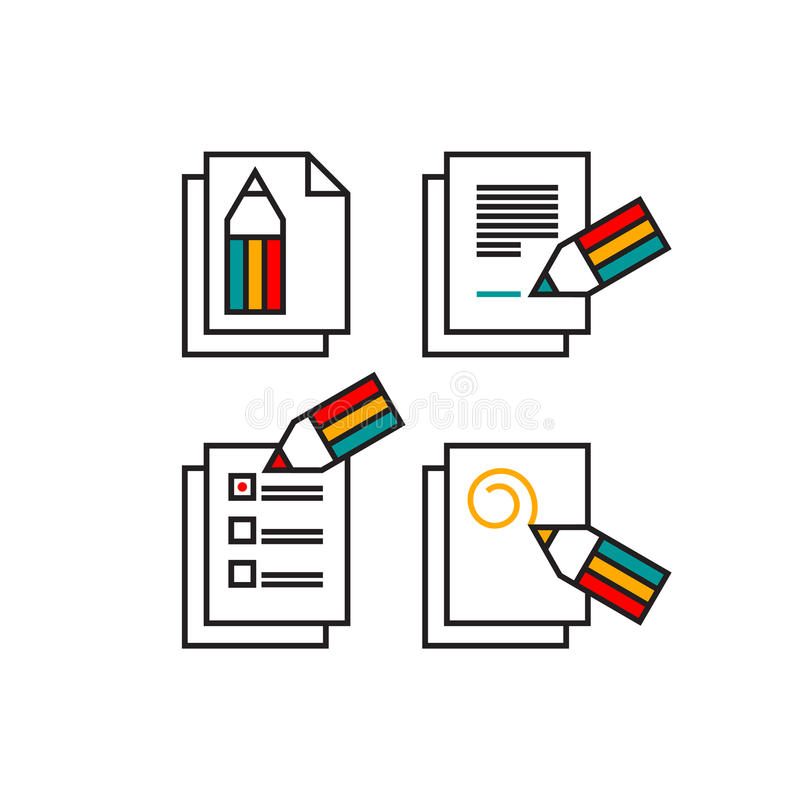 Set of four minimalistic pencil icons vector illustration