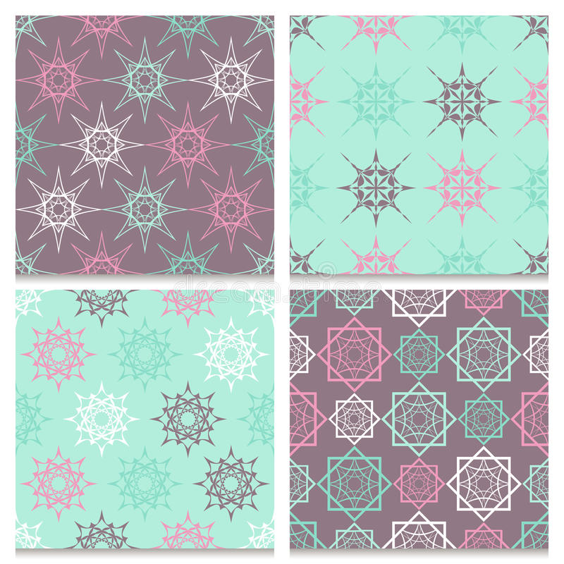 Set of four mint blue and brown seamless patterns stock illustration