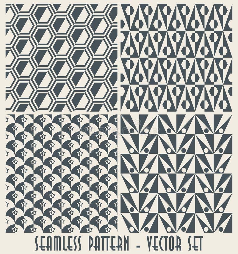 Set of four monochrome geometrical patterns royalty free illustration